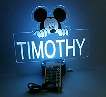 Mickey Mouse Night Light Up Table Desk Lamp Personalized Free Engraved Made to Order Home Boys and Girls Kids Room Decor 16 Bright Color Options with Remote A Must Have!