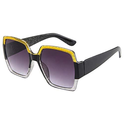 ZEZKT gafas de sol cuadradas para mujer y hombre moda unisex gafas de sol vintage de marco grande casual sunglasses para viajes al aire libre E
