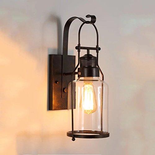 JSJ - Américain rétro mur en fer lampe concepteur allée salon éclairage mural de fond simple créatif verre lampe de mur de balcon