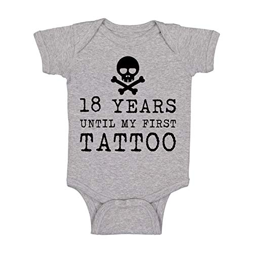 18 Years Until My First Tattoo Funny Cute Baby Bodysuit Infant Romper (Light Grey, 6 Months)