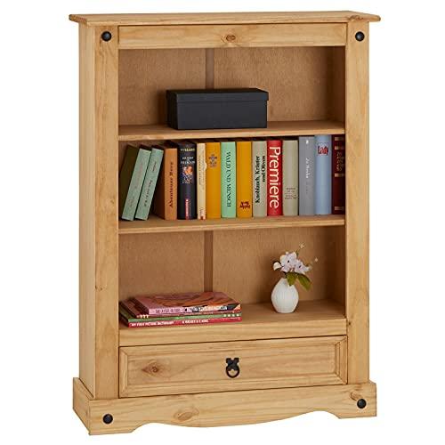 CARO-Möbel Regal Salsa Bücherschrank Bücherregal Mexiko-Stil, Kiefer massiv gebeizt, gewachst, 1 Schublade