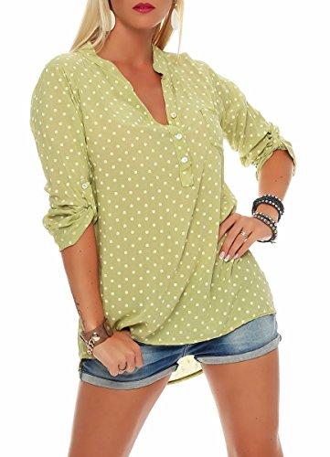Malito Damen Bluse mit Punkten   Tunika mit ¾ Armen   Blusenshirt auch Langarm tragbar   Elegant - Shirt 3419 (Pistazie)