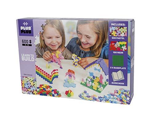 Plus Plus 52239 Basic 600-Learn to Build Pastel - Mini Giocattolo da Costruzione