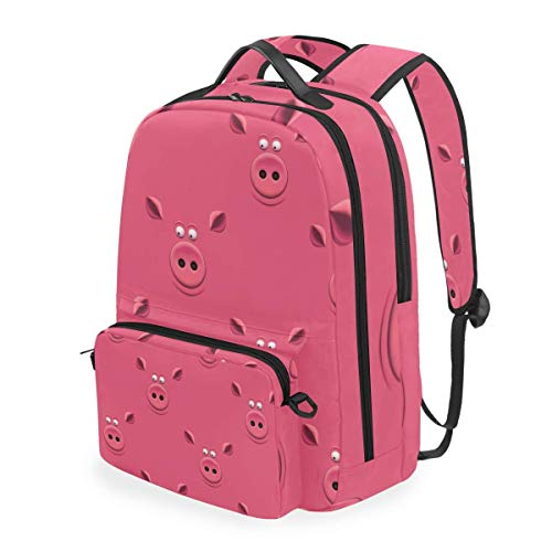 hangong Seamless Pattern Pigs Snout On Pink,School Backpack with Removable Pencil Case, 2 in 1 Travel Daypack Fits 15 Inch Laptop for Girls or Boys