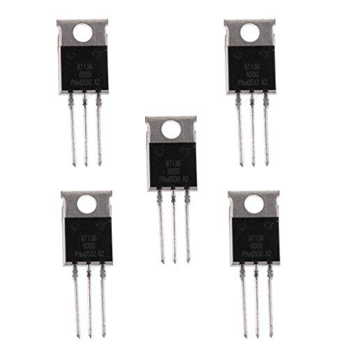harayaa Lote de 5 Piezas BT136 600 V Transistor Triac para Motor de Lavadora Ligera