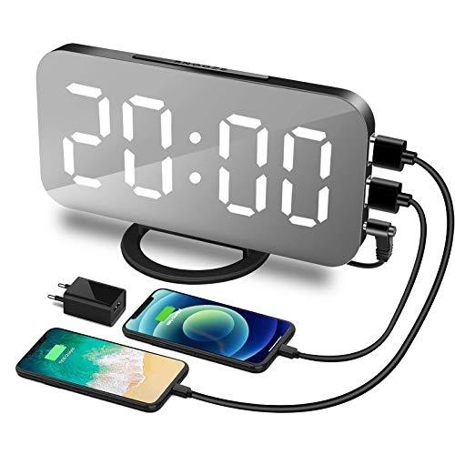 """Digital Wecker, LED -Display Wecker, Digitale Uhr 6.2""""Display, 3-Stufen Helligkeitskontrolle, Snooze, 12/24HR, Dual-USB-Ladegerät-Anschluss Wecker"""