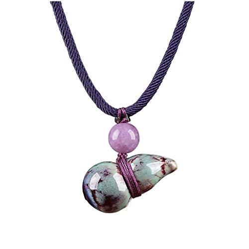 Collar de Mujer Calabaza de cerámica colgante étnico collar púrpura del estilo hecho a mano de la clavícula del collar de la camisa de las señoras de la vendimia Decoración (longitud ajustable) Collar