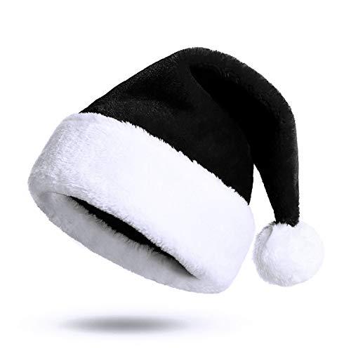 KONVINIT Cappello di Natale Nero Cappello Babbo Natale Adulto Cappellini Natale Cappellino Babbo Natale Taglia Unica
