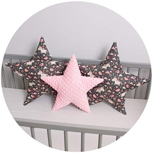 Palulli Cushion Set Star Decorative Cushion Diameter 40 cm and 2 x Diameter 50 cm Children's Room Decoration Star Pillow Baby Decorative Cushion with Filling for Bedroom Baby Room Cot (PONY)