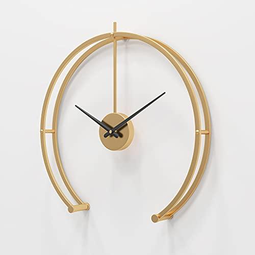KX&VV Reloj de Pared Moderno Reloj de Pared Silencioso Reloj de Pared Gigante de Metal Sala de Estar Dormitorio Elegante Reloj Gold 40cm