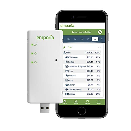 Emporia Vue Smart Home Energy Monitor | Connects to Your Electric Meter | Solar/Net Metering | Works only with PG&E, SCE, PPL, First Energy, Burlington Electric and Green Mountain Power