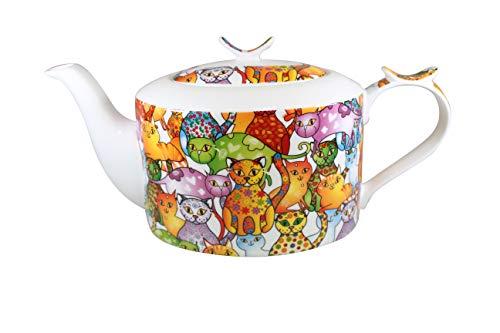Jameson & Tailor Retro Teekanne oval Kaffeekanne Bunte Katzen Brillant-Porzellan 1200ml Füllmenge