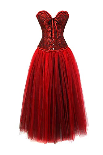 Crystallly Corsage Party Gothic Vintage Rock Moulin Vrouwen Set rode tanzer eenvoudige stijl fantasie clubwear dames mode elegant slim fit buik, bodice body shaper