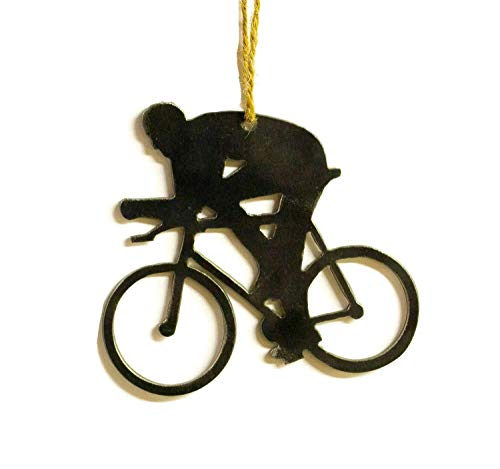 Oregardenworks Cyclist Bicycle Metal Christmas Tree Ornament Holiday Decoration Raw Steel Gift Recycled Nature Home Decor