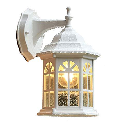 Mengjay Lámpara de Pared para Exteriores, de Aluminio Fundido, en Blanco, Aplique de pared antiguo antiguo IP23 resistente a la intemperie E27 Impermeable Lampara Pared Exterior para patio y jardín