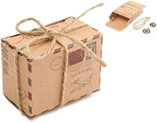 E-Goal 50Pcs/Pack Travel Themed Air Mail Design Kraft Paper Wedding Favor Candy Box with Burlap Twine and Metal Decoration
