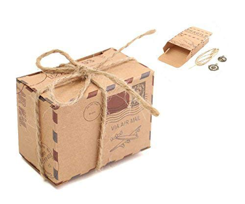 E-Goal 100Pcs/Pack Travel Themed Air Mail Design Kraft Paper Wedding Favor Candy Box with Burlap Twine and Metal Decoration