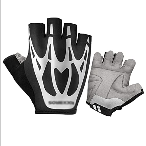 FOLA Bicycle Gloves Biking Cycling Gloves Non-Slip Shockproof Outdoor Reflective Half-finger Cycling Gloves Riding Mountain Bike Gloves Bike Gloves (Color : Black, Size : X-Small)