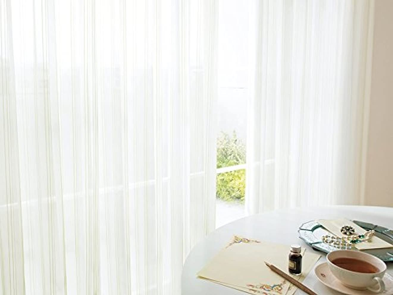 逆さまにファンシーローラー東リ ラメ糸と色糸でゆらぎを表現した遮熱レース フラットカーテン1.3倍ヒダ KSA60442 幅:250cm ×丈:160cm (2枚組)オーダーカーテン