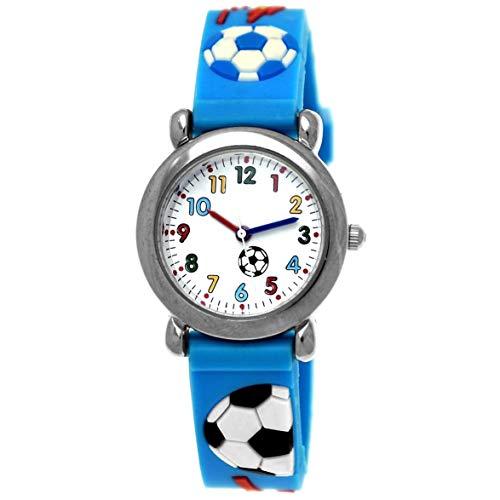 Pure Time® Kinder-Uhr Mädchen-Uhr Jungen-Uhr Kinder Mädchen Jungen Silikon Kautschuk Armband-Uhr Uhr mit Fußball Soccer Kicker Motiv Hellblau Blau Türkis Rot Blau Bunt