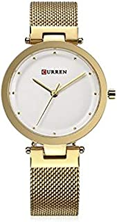 Curren 9005 Quartz Movement Round Dial Stainless Steel Strap Waterproof Women Wristwatch - Gold