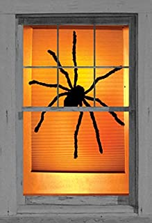 Window Poster Halloween Black Widow Spider by WOWindows USA-made Decoration Includes 1 Reusable 34.5