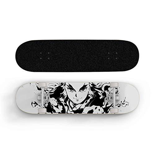 FWTL Skateboard para Demon Slayer: RENGOKU KYOUJUROU, Scooter de Doble Rueda de Doble Rueda, monopatín para Principiantes, Deportes Extremos al Aire Libre Longboard, niño y Adolescente Regalo