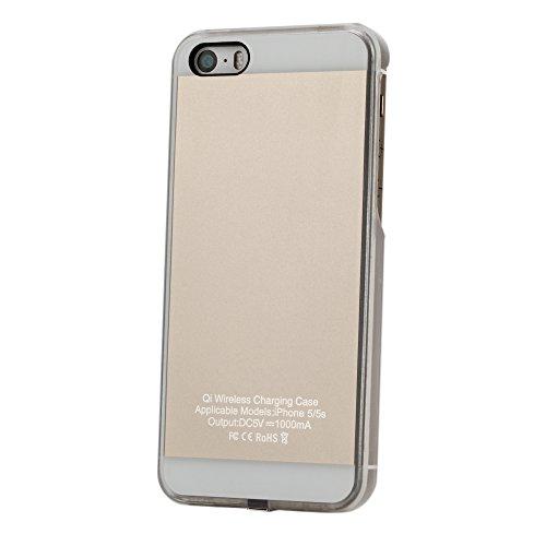 ワイヤレス充電器、iPhone 5、5S、SEフレキシブルQiワイヤレス充電レシーバケース保護カバー (金)