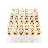 60 Mini Frascos de Vidrio con Tapón Corcho, Pequeños Tarros de Cristal 7ml| Botellas Transparentes y Resistentes| Boda Bricolaje Souvenirs Mensaje Regalos Invitados Decoración Poción Perfumes Arena.