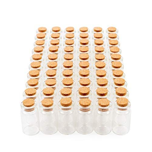 60 Mini Frascos de Vidrio con Tapón Corcho, Pequeños Tarros de Cristal 7ml| Botellas Transparentes y Resistentes| Boda Bricolaje Souvenirs Mensaje Regalos Invitados Decoración Poción Perfumes