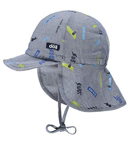 Döll Baby-Jungen Bindemütze mit Schirm und Nackenschutz Mütze, Blau (Total Eclipse|Blue 3000), (Herstellergröße: 47)