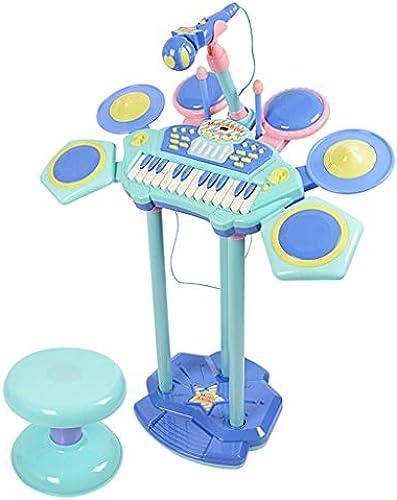 LINGLING-Trommel Schlagzeug Kinder Anf erspielzeug Percussion Schlagzeug Musikinstrumente Jazz Schlagzeug Elektronisches Schlagzeug (Farbe   Blau)