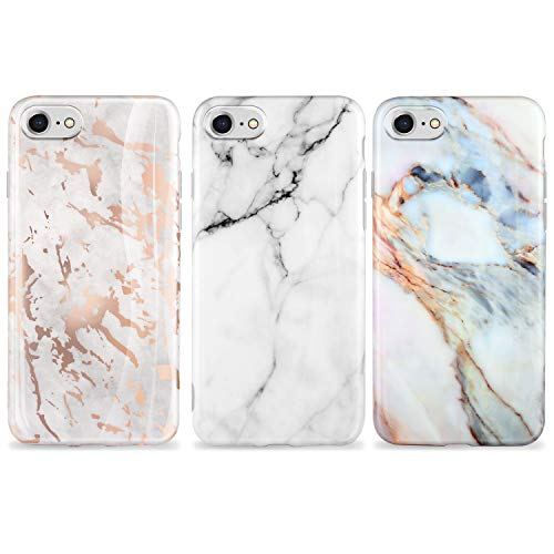 AROYI [3 Stück iPhone SE Hülle Matt Marmor, Weich Silikon Handyhülle Stein Marble Ultra Dünn Handytasche Flexibel Kratzfest Schutzhülle Cover für iPhone 7/8/ SE(2020) (Weiß)