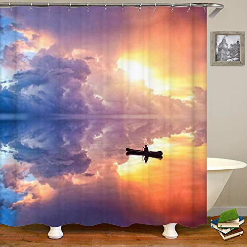 SARA NELL Ocean Meets The Sky Shower Curtain,Waterproof Polyester Fabric,Extra Long Bath Curtains Bathroom Decorations,72X72 Inches with 12 Hooks