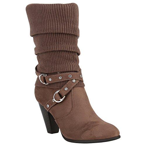 Klassische Damen Stiefel Gefüttert Stulpen Wildleder-Optik Schuhe 151521 Khaki Strass 38 Flandell