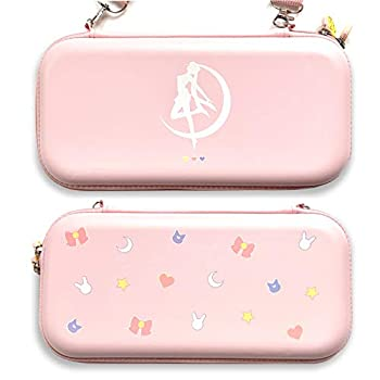 BelugaDesign Moon Switch Carrying Case   Pastel Hard Travel Shell Compatible with Nintendo Switch Standard Lite OLED   Cute Moon Silhouette Heart Magic Bow Design  Pink
