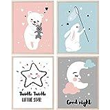 CRUNY Quadretti Cameretta Neonato, Luna e Stelle - Set di 4 Poster Cameretta Bambini e Bam...