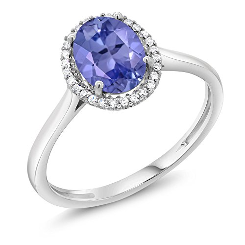 Gem Stone King 10K White Gold Blue Tanzanite and Diamond Halo Women's Engagement Ring 1.16 cttw (Size 6)