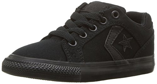 Converse Boys' El Distrito Twill Low Top Sneaker, Black/Black/Black, 10.5 M US Little Kid