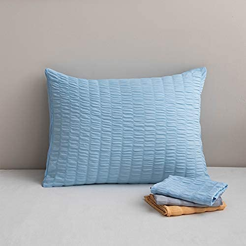 ETDWA Alféizar Fundas de Almohada Protector de Almohada de alergia Tejido Antimicrobiano Seersucker Comfort Throw Pillows, Fundas de Almohada de algodón Paquete de 2 (Azul) 50 x 90 cm