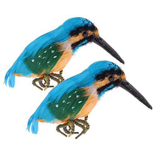 FLAMEER 2pcs Plastique Vif -pêcheur Oiseaux Ornement Statue De Jardin Créatif Décor Cadeaux Cadeaux Fête Affichage