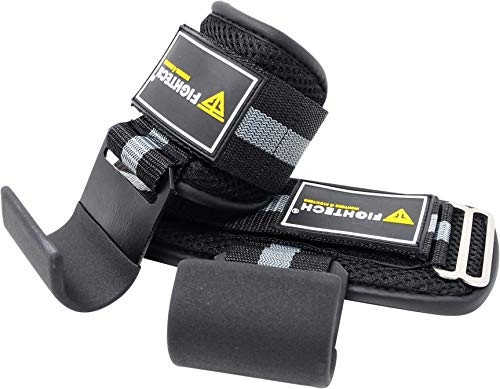 FIGHTECH Lifting Hooks for Weight Lifting   Hook Grips with Wrist Wraps & Straps for Powerlifting Weightlifting Grip & Wrist Support for Deadlifts & Everyday Gym Workout (BLK)