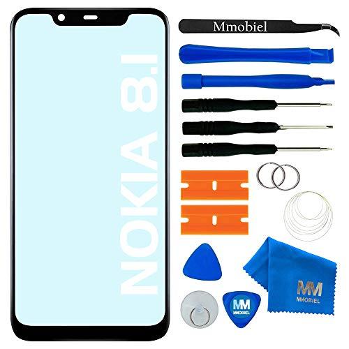 MMOBIEL Front Glas Ersatz kompatibel mit Nokia 8.1 (Nokia X7) 6.18 inch 2018 (Schwarz) Bildschirm inkl Werkzeug