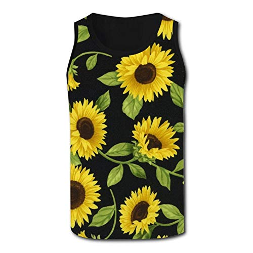 CAPINER Mens T Shirt 3D Printed Kawaii Sunflowers Tank Tops Camisole Sleeveless Vest T-Shirt for Gym Sport Outdoor S Black
