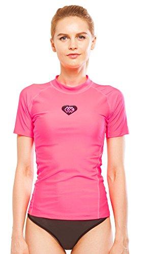 Aqua Marina Alluv Damen SS Rash Guard UV-Shirt Lycra Badeshirt Schwimmshirt pink