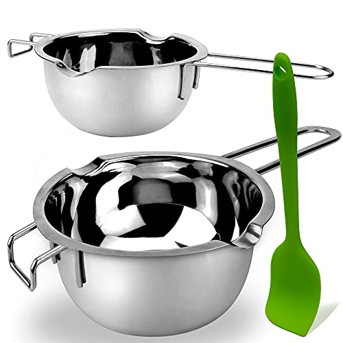 2 Pack Double Boiler Melting Pot with Silicone Spatula, Stainless Steel Pot for Butter for Chocolate Candy Butter Cheese Caramel Candle (480ML and 1000 ML)