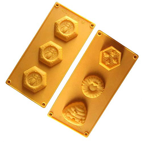 2 Pack 3 Cavities 3D Bee & Honeycomb Silicone Soap Molds for Soap Making, Beehive Cake Baking Pan, Homemade Craft Candle Resin Bath Bomb Old
