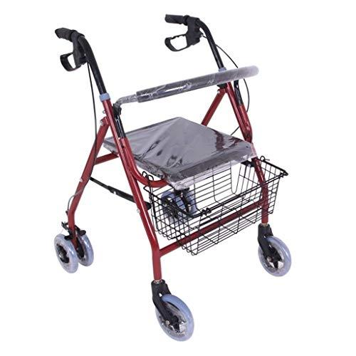 ZXL Standardwanderer \u0026 Gehhilfen Walker Alter Trolley Alter Roller Faltbarer Einkaufswagen Sitz kann Vier Runden dauern, um Lebensmittel zu kaufen und beim Schieben des kleinen Wagens zu he