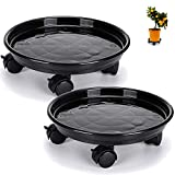 Skelang 13' Plant Caddy, Movable Plant Stand Pot Saucer, Plant Pallet Tray Trolley with Casters, Plant Dolly for Garden Planter, Deck Potted Plant, Each Load Capacity 125 Lbs, Pack of 2 (Black)