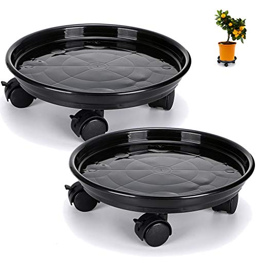Skelang Plant Caddy 33cm, Plant Pallet with Castor Wheels, Flower Pot Mover for Garden, Patio, Yard, Deck, Kitchen, Loading Capacity 56kg, Pack of 2 (Black)